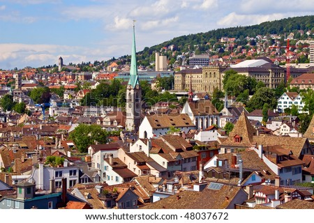 Zurich summer cityscape (Zurich, Switzerland) - stock photo