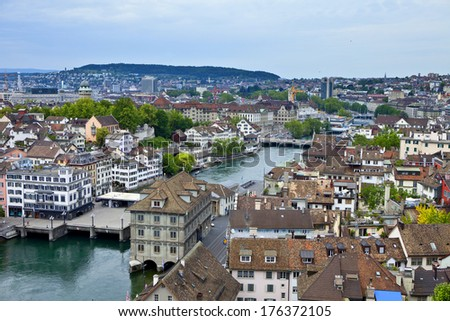 Zurich Switzerland as seen from the top of Grossmunster - stock photo