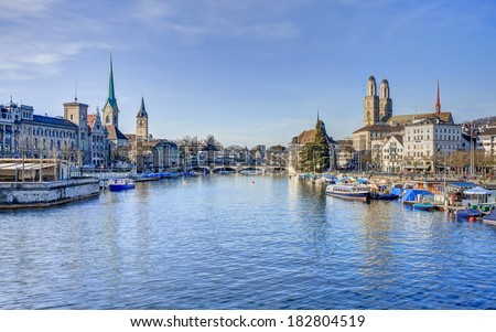 Zurich, Switzerland - cityscape, view along the Limmat river in March. High dynamic range (HDR) with tone mapping. - stock photo