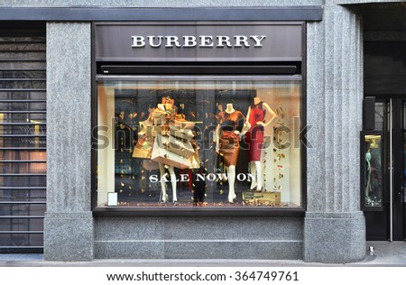 ZURICH, SWITZERLAND - DECEMBER 29, 2013 - Burberry shop, a British luxury fashion house, distributing clothing and fashion accessories and licensing fragrances