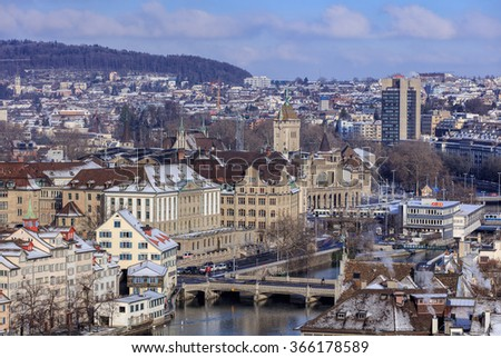 Zurich, Switzerland - 18 January, 2016: view on the city from the Grossmunster tower. Zurich is the largest city in Switzerland and the capital of the Swiss canton of Zurich.
