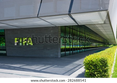 Zurich Switzerland - May 28 2015. FIFA head office building, disigned by Tilla Theus and Partner AG  - stock photo