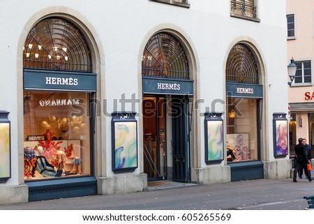 Zurich, Switzerland - 04 November, 2016: Hermes store in Zurich. Hermes is a French manufacturer established in 1837 specialising in leather, accessories perfumery and luxury goods