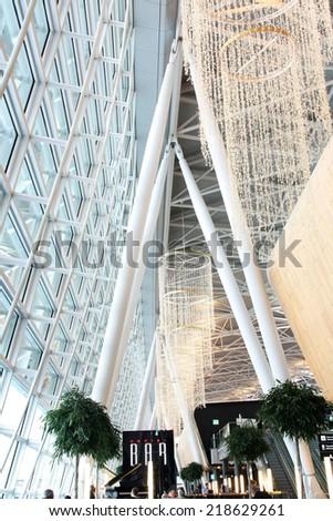 Zurich, Switzerland - NOVEMBER 24: Interior of of Zurich Airport, which is one of the biggest flight transits in the Central Europe, at Zurich, Switzerland, November 24,.2010 - stock photo