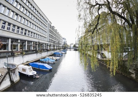 ZURICH,SWITZERLAND - NOVEMBER 21,2015: View of the river of the city