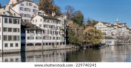 Zurich, Switzerland - 8 November, 2014: view on the Limmat river and Shipfe. Zurich is the largest city in Switzerland and the capital of the canton of Zurich.