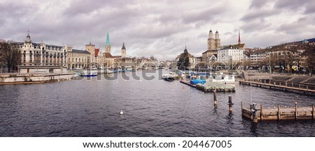 Zurich, Switzerland old town, situated on the Limmat river. It is the largest city in the country - stock photo