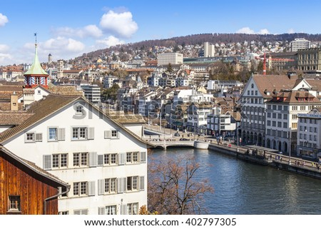 ZURICH, SWITZERLAND, on MARCH 26, 2016. Spring morning. A view of the city from the survey platform Lindenkhof. Architectural complex of the embankment