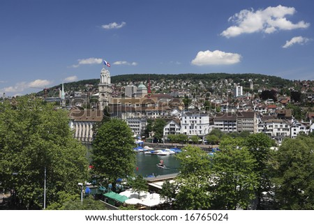 Zurich, Switzerland, overlooks the Limmat River on a pleasant summer day.