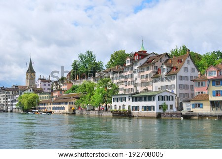 Zurich, Switzerland. Quay of the river Limmat and Lindenhof hill