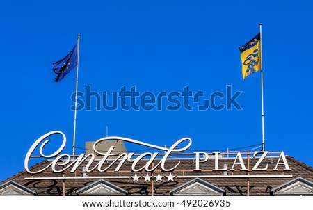 Zurich, Switzerland - 25 September, 2016: upper part of the Hotel Central Plaza building. Hotel Central Plaza is a 4-stars hotel in the center of the city, close to the Zurich main railway station.