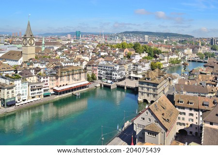 Zurich, Switzerland. View of the city from the tower of the church Grossmunster