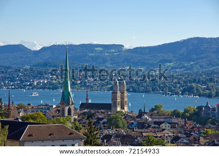 Zurich with the alps