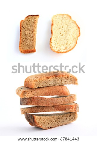 zwieback on white background
