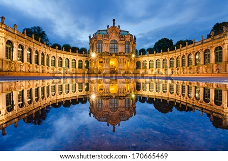 Zwinger in Dresden, Germany at night - stock photo