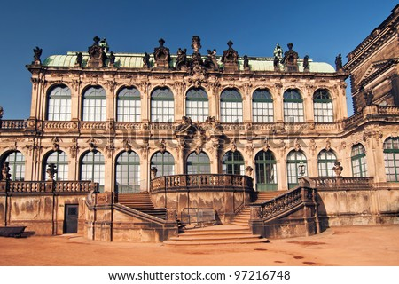 Zwinger is a palace in Dresden. Today, the Zwinger is a museum complex that contains the Old Masters Picture Gallery. - stock photo