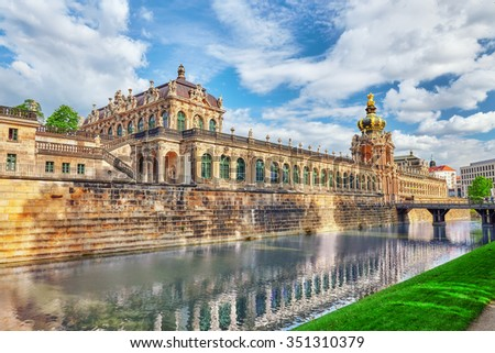 Zwinger Palace (Der Dresdner Zwinger) Art Gallery of Dresden, which was almost completely destroyed during the Second World War. Back view. Saxony, Germany. - stock photo