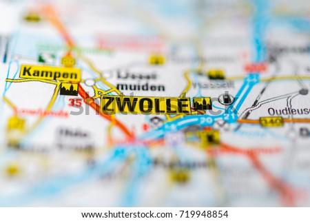 Zwolle On Map Stock Photo 719948854 Shutterstock