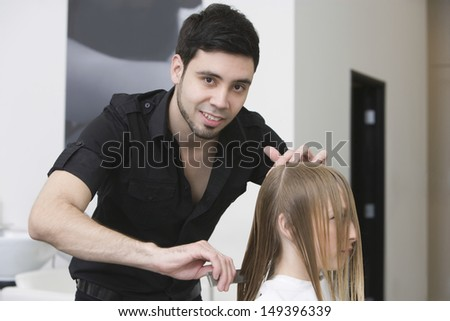 "male Hair Stylist Working On Female Client"" Stock Images, Royalty ..."