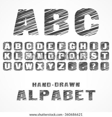A B C alphabet caps sketch letters in grey, vector illustration - stock vector