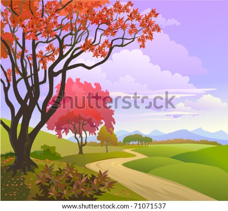 A beautiful  blossoming trees in a rural landscape - stock vector