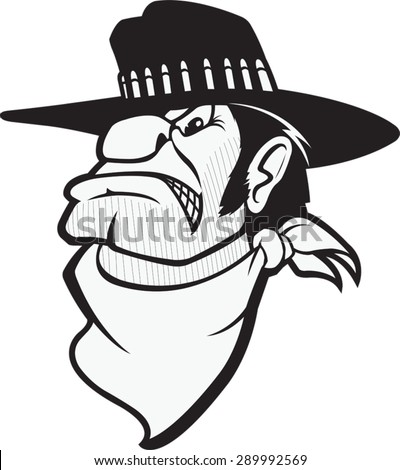 A cartoon Bust of a mean looking Cowboy. Bad Bart BW - stock vector