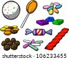 A cartoon illustration of various types of candy, isolated on white. - stock vector