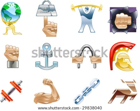 A conceptual icon set relating to strength and being strong. - stock vector