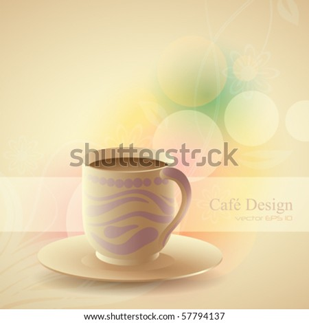 a cup of coffee with a colorful background, vector illustration - stock vector