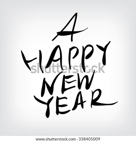 A Happy New Year, font - stock vector