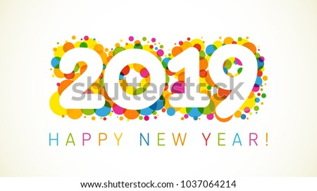 2019 Happy New Year Xmas Greetings Stock Vector 1037064214 ...