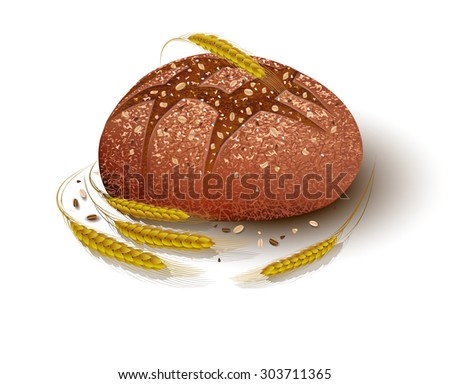 A loaf of bread. Black. Spikelets of wheat. Rye. - stock vector