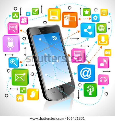 A lot of colorful design elements with icons coming out from a phone, - stock vector