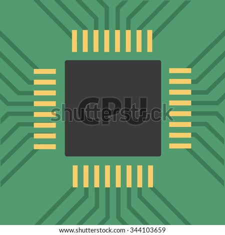 a microcontroller. CPU Processor with tracks. Vector illustration - stock vector