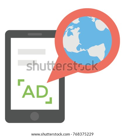 A mobile device with global advertising icon design