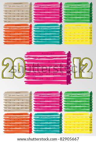 2012 A3 paint calendar for 12 months.August. - stock vector