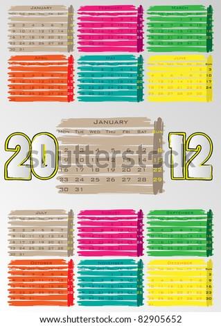 2012 A3 paint calendar for 12 months.January. - stock vector