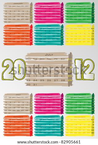 2012 A3 paint calendar for 12 months.July. - stock vector