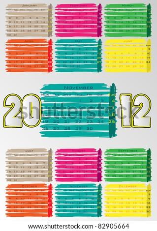 2012 A3 paint calendar for 12 months.November. - stock vector