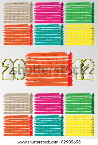 2012 A3 paint calendar for 12 months.October. - stock vector
