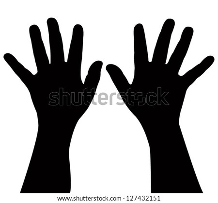 a pair child hand silhouette,vector - stock vector