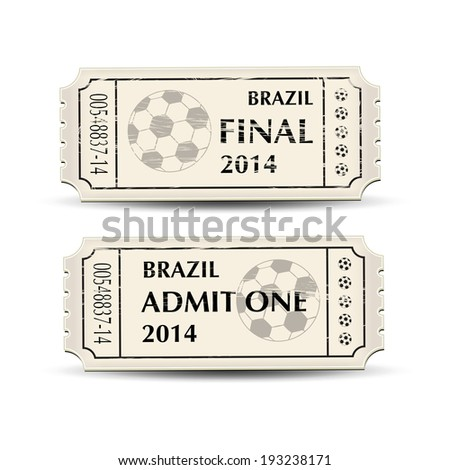 A pair of retro style tickets for Brazil 2014 football. EPS10 vector format.  - stock vector