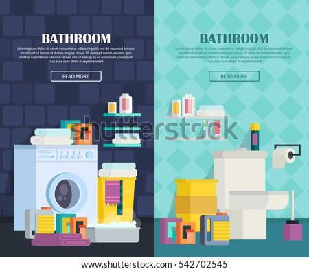 A Set Of Bathroom Interior. Icons Of Bathroom Items: Bathroom, Toilet,  Washing