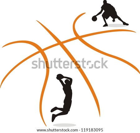 A silhouette of a basketball isolated - stock vector