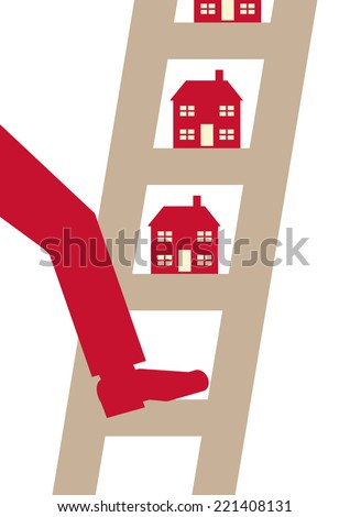 A vector illustration of a person putting his foot on a property ladder. - stock vector