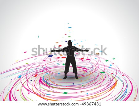 A young man raising his hands vector silhouette in rainbow mosaic wave line , vector illustration - stock vector
