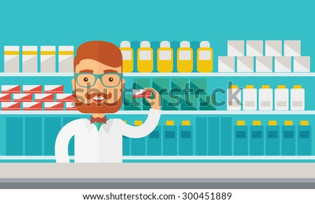 A Young  pharmacy chemist man standing in drugstore. Contemporary style with pastel palette, blue tinted background. Vector flat design illustrations. Horizontal layout. - stock vector