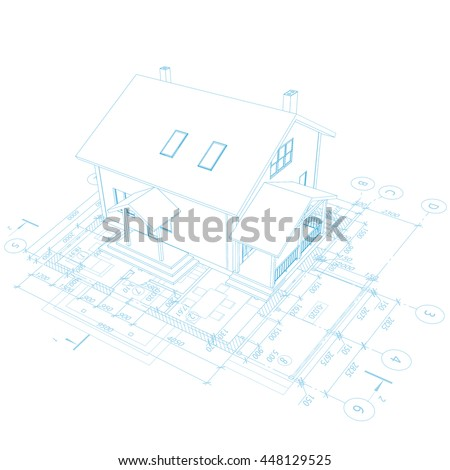 Abstract architectural background. Vector floor plan blueprint. 3D house model.