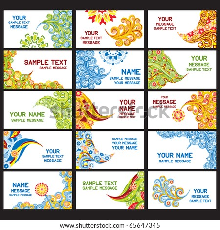 15 abstract asian business cards. Set 4. Eps8. - stock vector