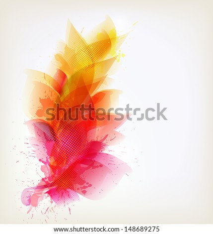 abstract background with colorful flower and blots. Vector design - stock vector